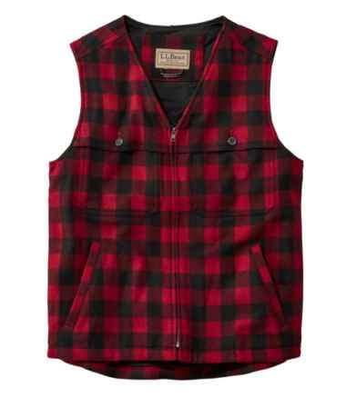Men's Maine Guide Zip-Front Wool Vest, Plaid