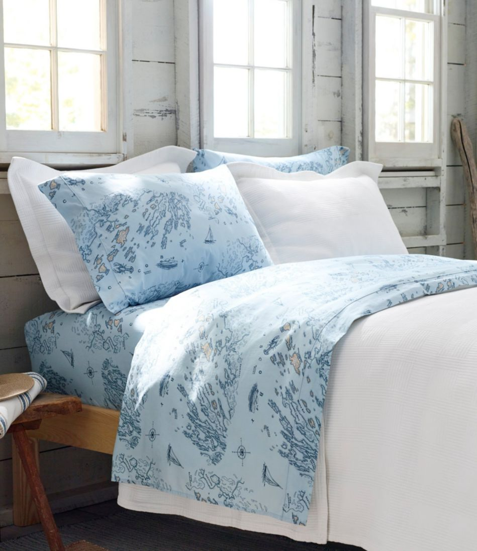 Nautical Map Percale Sheet Collection