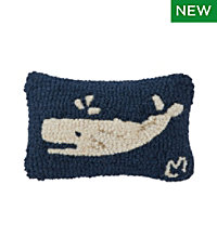 Wool Hooked Throw Pillow, Spouting Whale