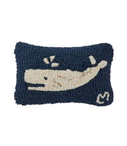 "Wool Hooked Throw Pillow, Spouting Whale, 8"" x 12"""