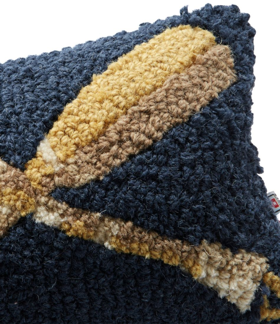 Wool Hooked Throw Pillow, Wooden Paddles