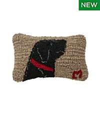 Wool Hooked Throw Pillow, Begging Black Lab