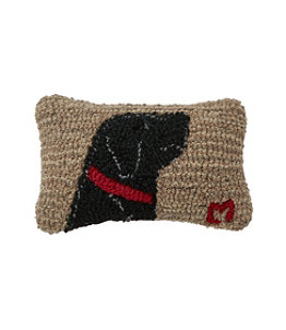"Wool Hooked Throw Pillow, Begging Black Lab, 8"" x 12"""