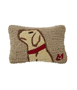 "Wool Hooked Throw Pillow, Begging Yellow Lab, 8"" x 12"""