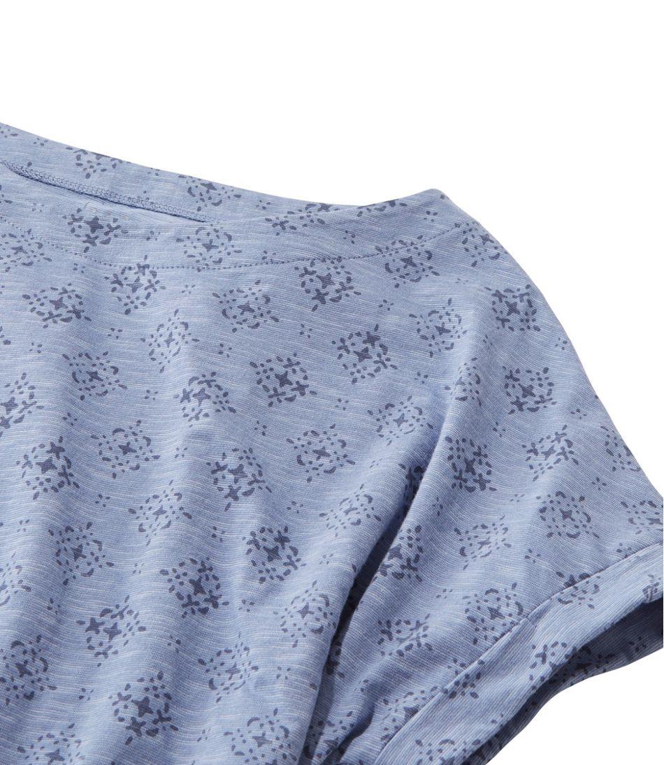 Cotton/Tencel Slub Tee, Short-Sleeve Boatneck Stamp Print