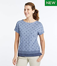 Cotton/Tencel Slub Tee, Short-Sleeve Boatneck Stamp Print