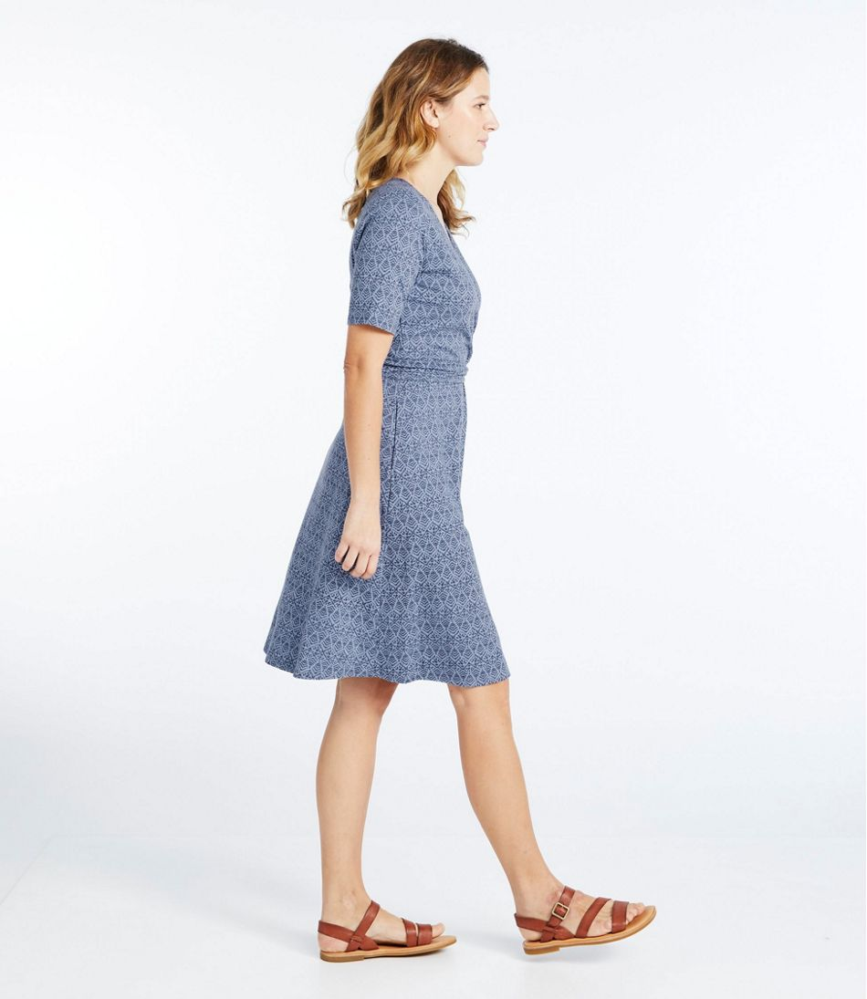 Cotton/Tencel Dress, Elbow-Sleeve Print