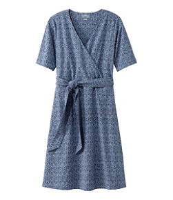 Women's Cotton/Tencel Dress, Elbow-Sleeve Print
