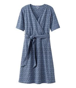 Women's Cotton/Tencel Dress, Elbow-Sleeve Print