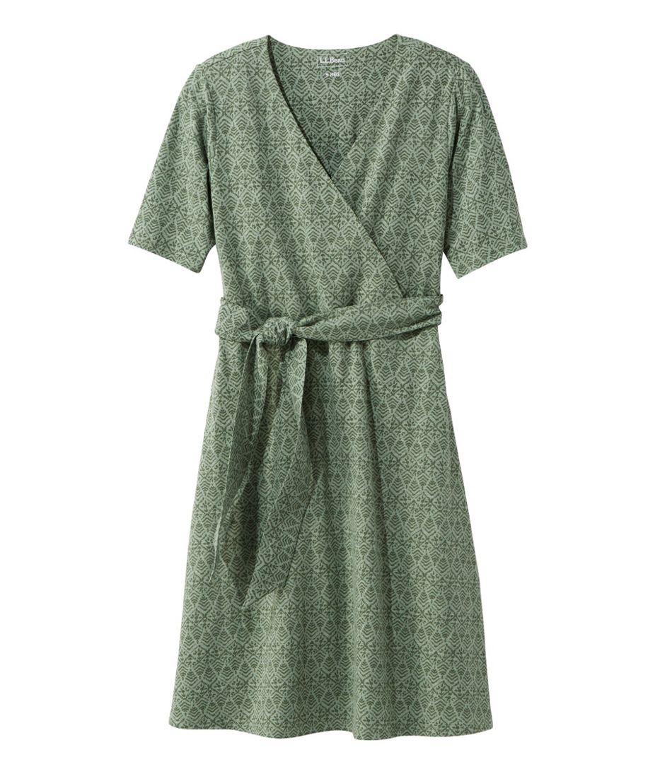 Cotton/Tencel Dress, Elbow-Sleeve Print