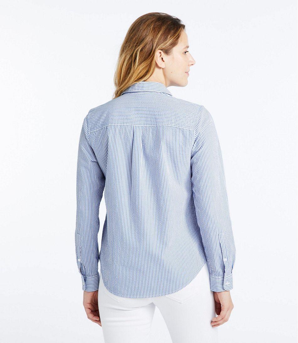 Women's Vacationland Seersucker Shirt, Long-Sleeve