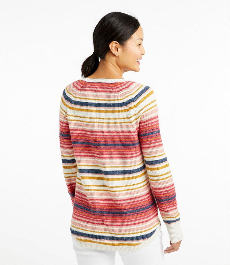 Textured Cotton Sweater, Long-Sleeve Stripe