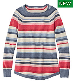Textured Cotton Sweater, Long-Sleeve Stripe