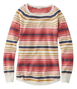 Women's Textured Cotton Sweater, Long-Sleeve Stripe