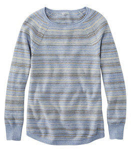 Women's Textured Cotton Sweater, Long-Sleeve Stripe
