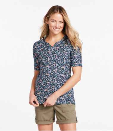 Pima Cotton Tee, Notch-Neck Elbow-Sleeve Tunic Print