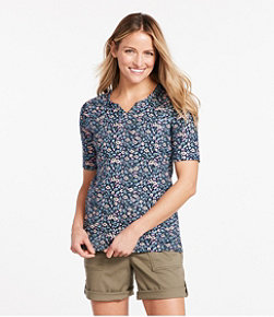 Women's Pima Cotton Tee, Notch-Neck Elbow-Sleeve Tunic Print