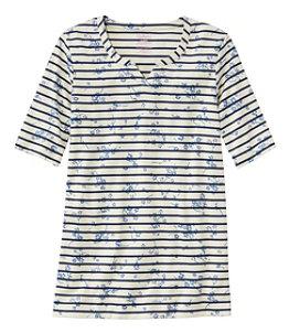 Women's Pima Cotton Tee, Notch-Neck Elbow-Sleeve Tunic Print