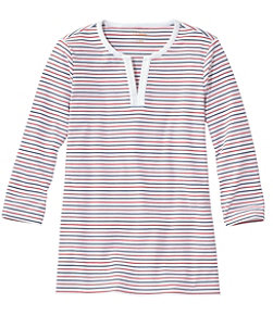 L.L.Bean Tee, Three-Quarter-Sleeve Splitneck Tunic Stripe