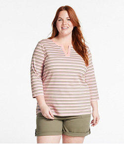 Women's L.L.Bean Tee, Three-Quarter-Sleeve Splitneck Tunic Stripe