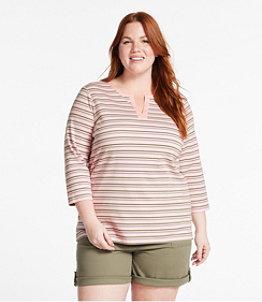 Women's L.L.Bean Tee, Three-Quarter-Sleeve Splitneck Tunic Stripe