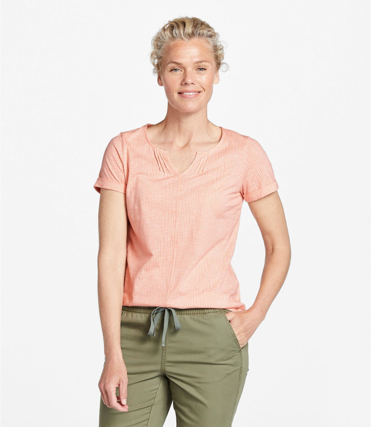 Women's Organic Cotton Tee, Splitneck Short-Sleeve Print