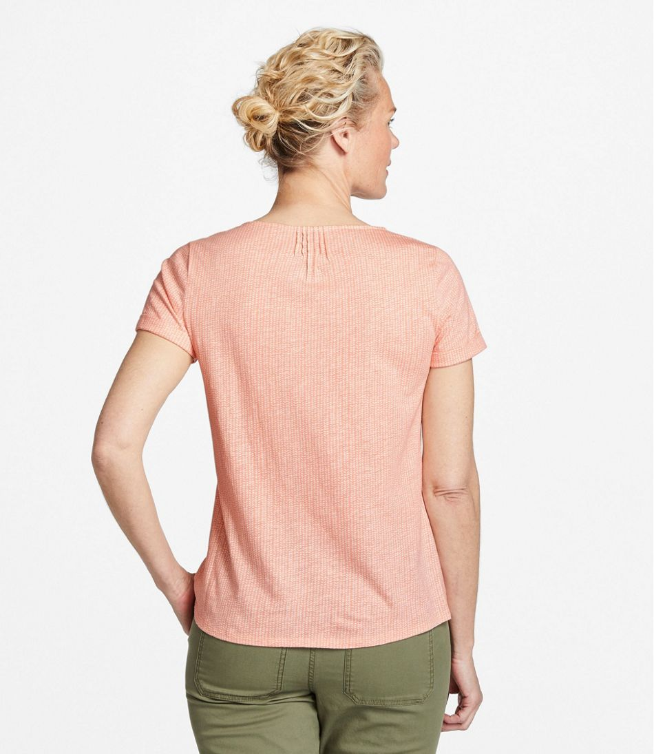 Organic Cotton Tee, Splitneck Short-Sleeve Print