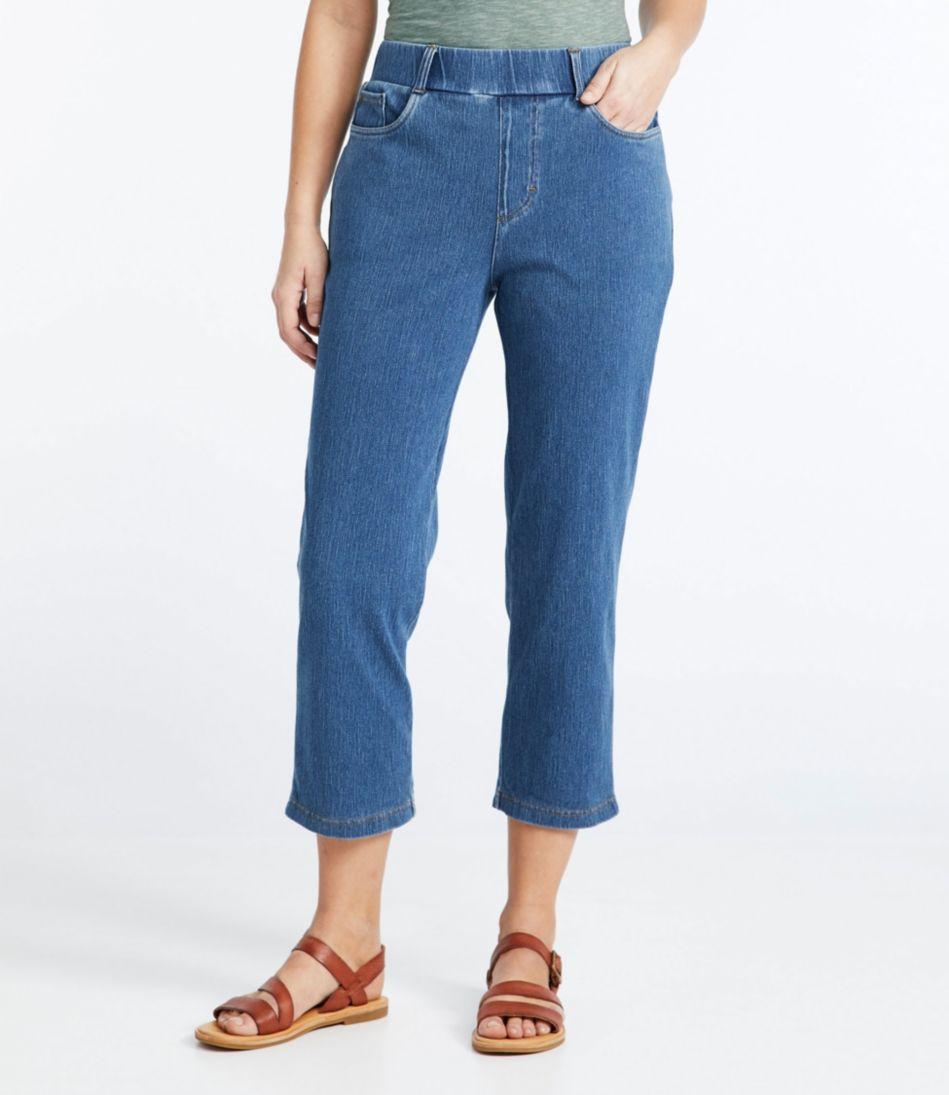 Perfect Fit Cropped Pants, Five-Pocket Slim Denim