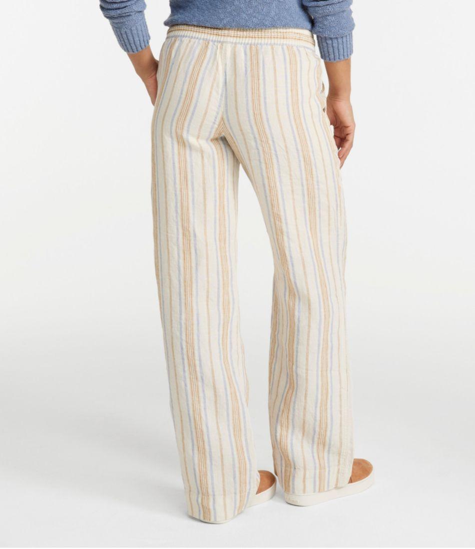 Premium Washable Linen Pull-On Pants, Stripe
