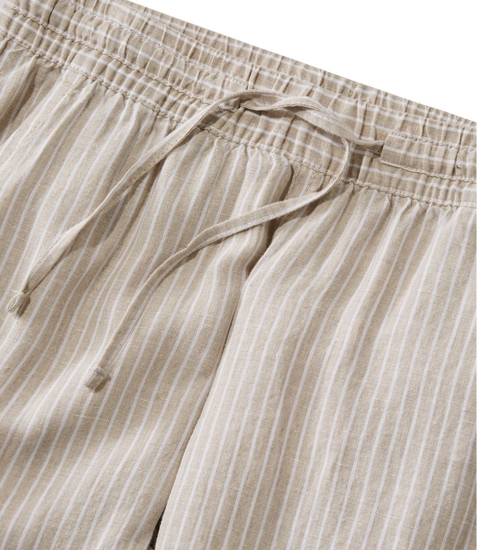 Premium Washable Linen Pull-On Pants, Stripe
