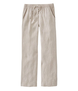 Women's Premium Washable Linen Pull-On Pants, Stripe