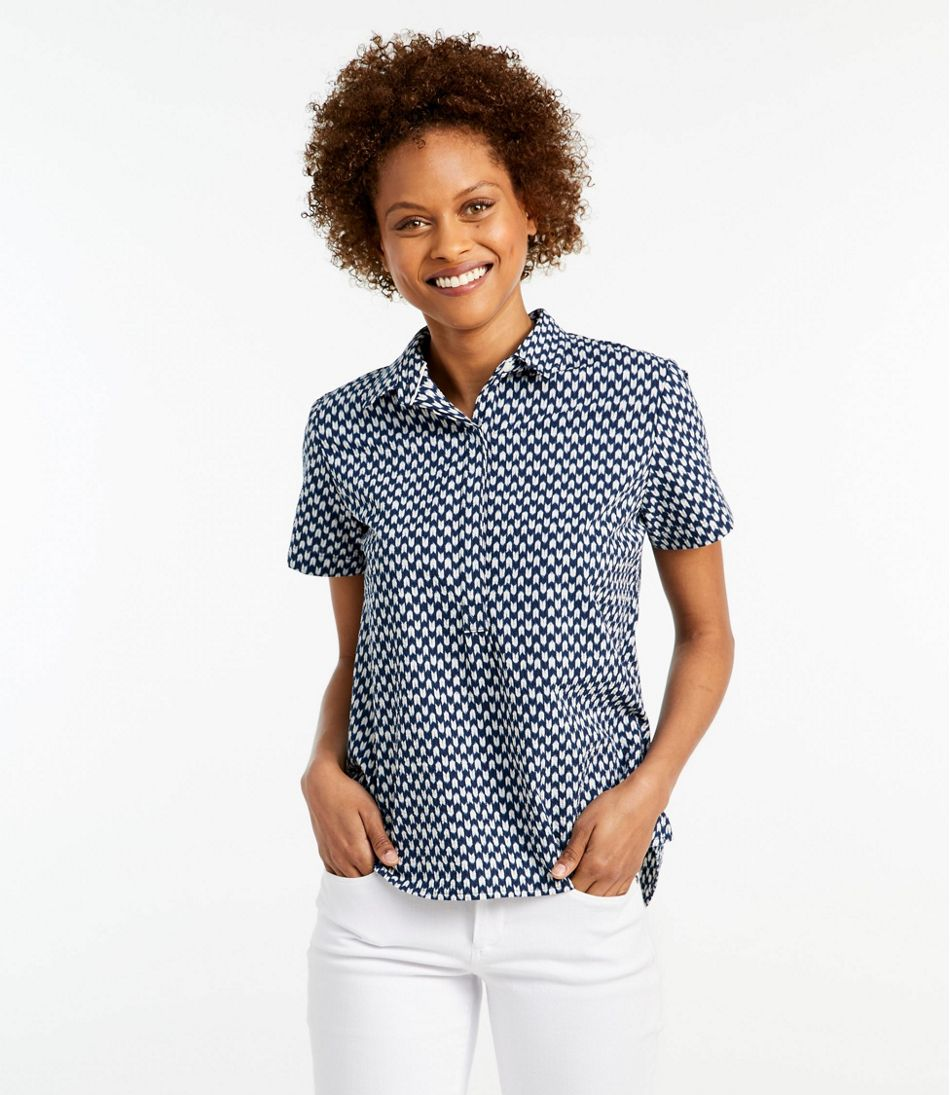 Textured Cotton Popover Shirt, Short-Sleeve Print