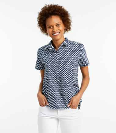 Women's Textured Cotton Popover Shirt, Short-Sleeve Print
