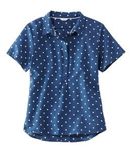 Women's Textured Cotton Popover Shirt, Short-Sleeve Print
