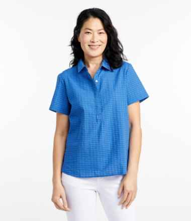 Textured Cotton Popover Shirt, Short-Sleeve Plaid