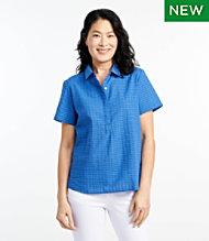 d5dbcc3e18b19a Textured Cotton Popover Shirt, Short-Sleeve Plaid