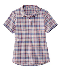 Women's Textured Cotton Popover Shirt, Short-Sleeve Plaid