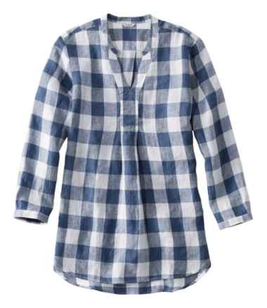 Premium Washable Linen Long Tunic, Plaid