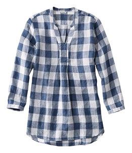 Premium Washable Linen Long Tunic, Plaid