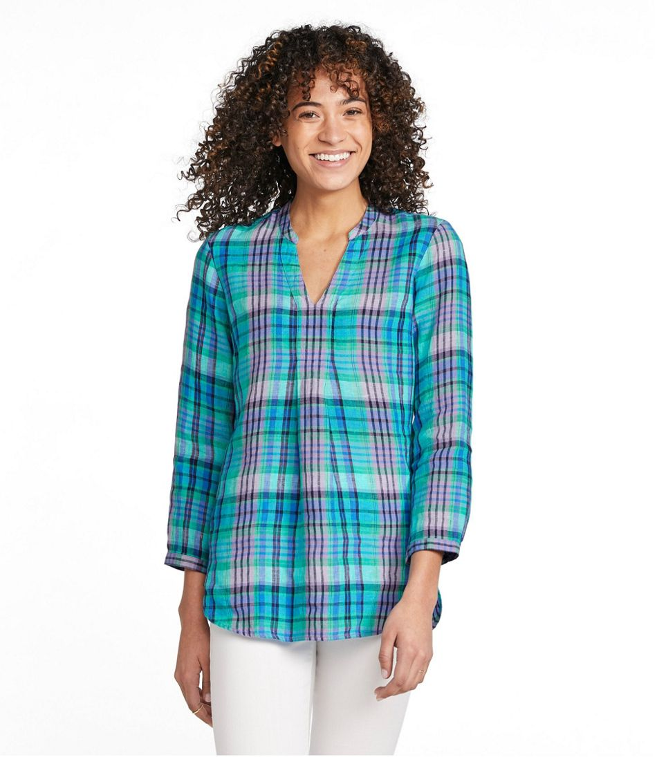 Women's Premium Washable Linen Long Tunic, Plaid