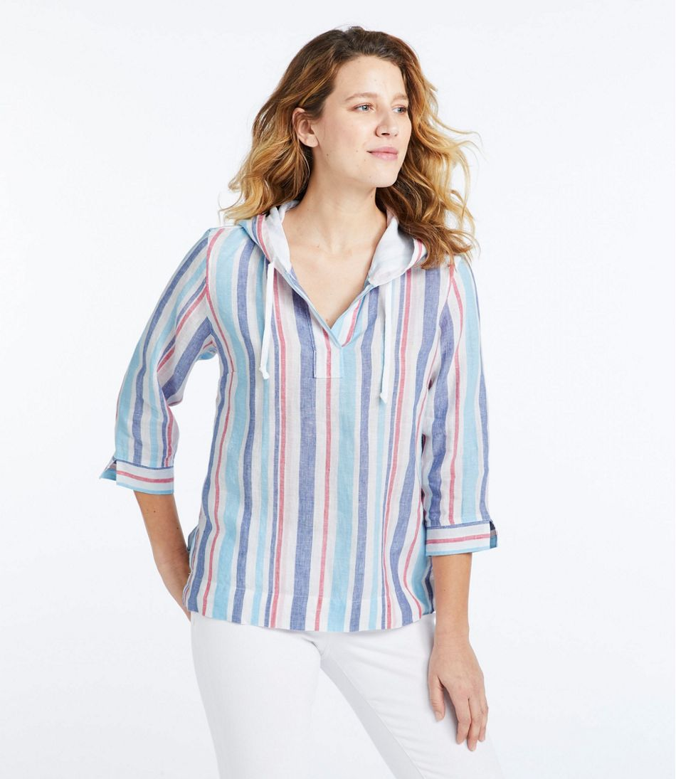 Premium Washable Linen Hoodie, Stripe