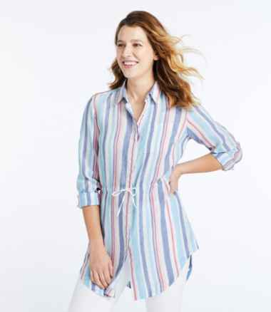 Women's Premium Washable Linen Drawstring Tunic, Stripe