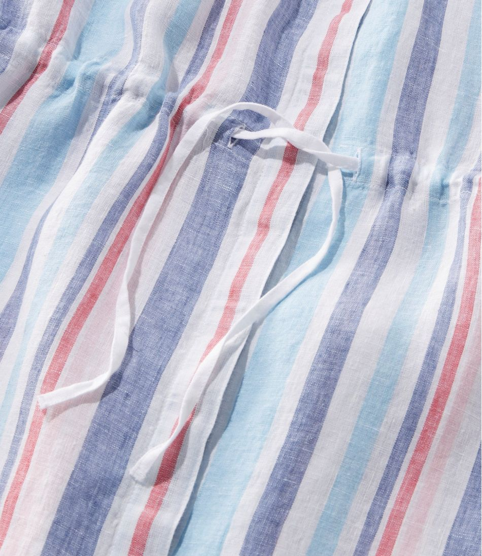 Premium Washable Linen Drawstring Tunic, Stripe