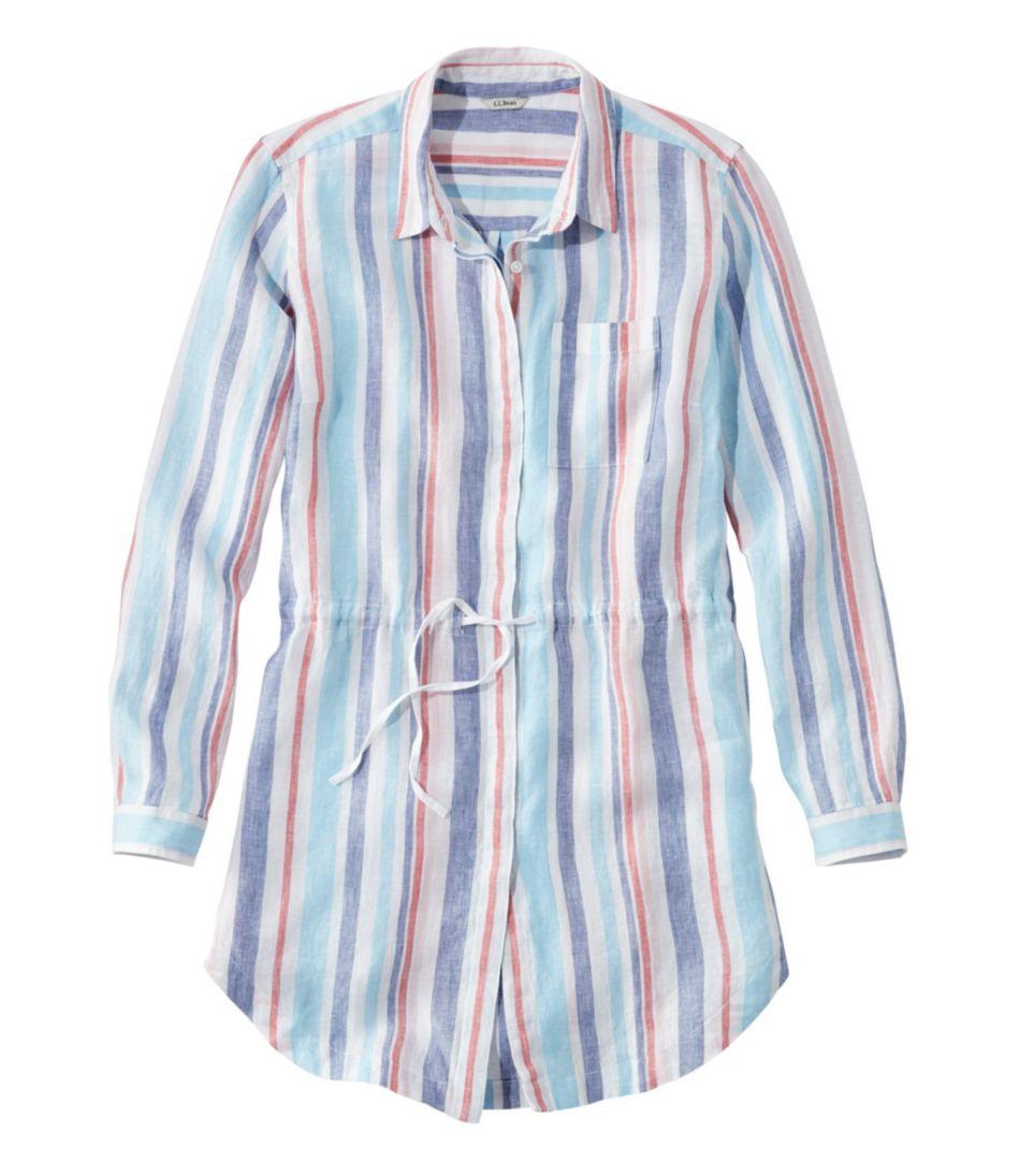 Premium Washable Linen Drawstring Tunic, Stripe