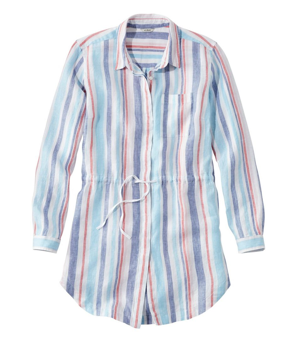 Women's Premium Washable Linen Drawstring Tunic, Stripe