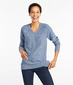 Women's Double L Mixed-Cable Sweater,V-Neck Tunic