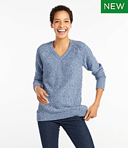 Women's Double L® Mixed-Cable Sweater,V-Neck Tunic
