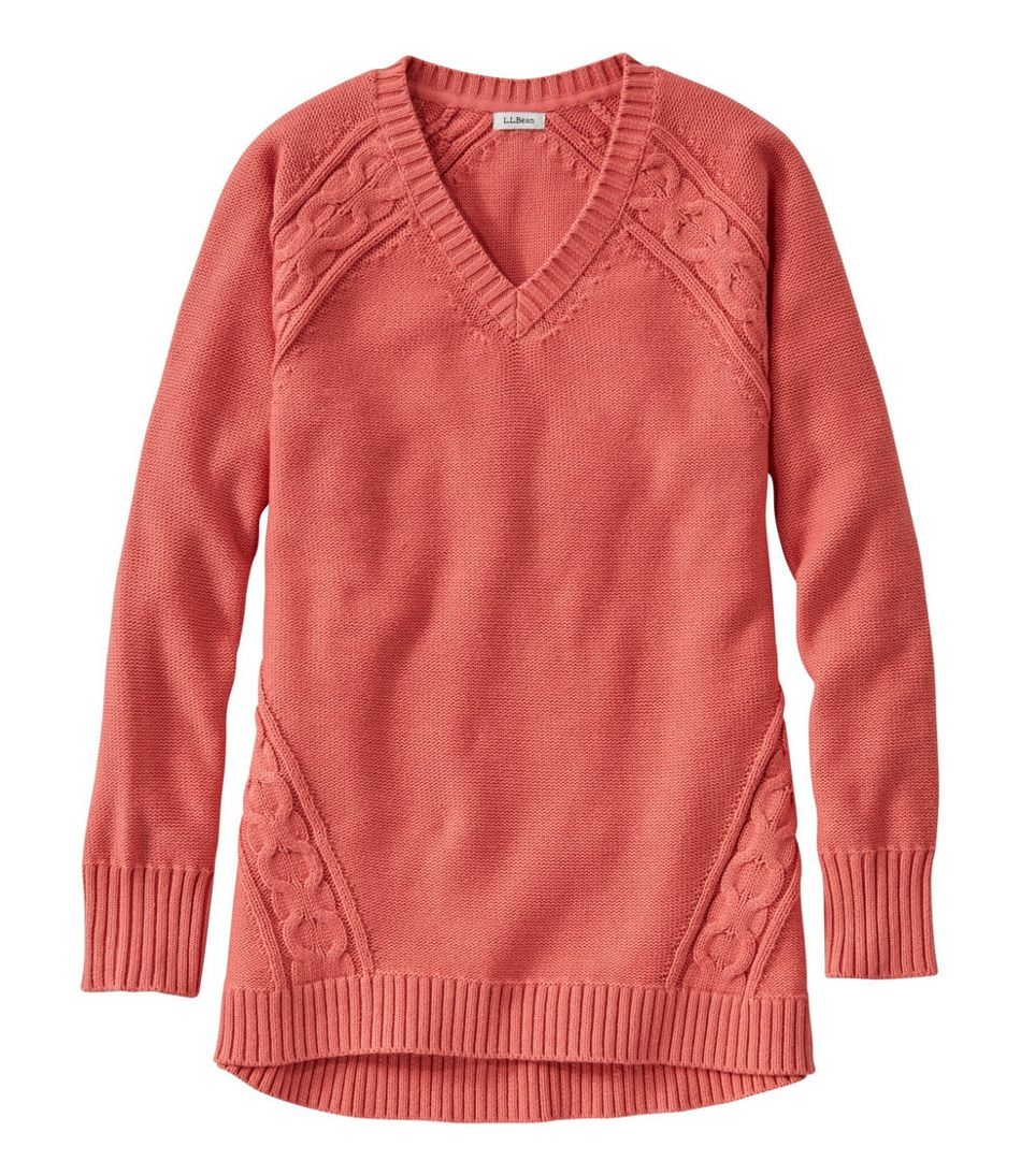 Double L® Mixed-Cable Sweater,V-Neck Tunic