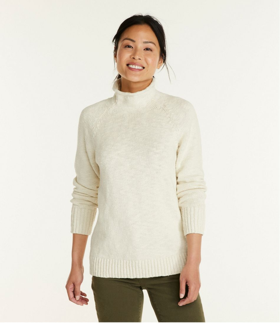 Women's Cotton Ragg Sweater, Funnelneck Pullover