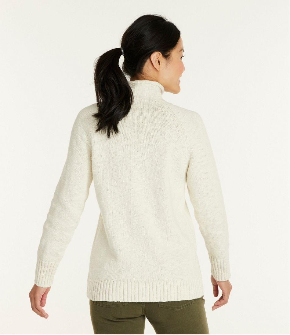 Cotton Ragg Sweater, Funnelneck Pullover